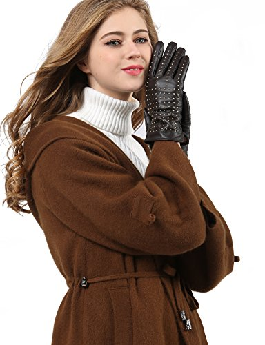 (YISEVEN Women's Touchscreen Sheepskin Leather Gloves with Quilted Rivet Fashion Chic Industrial Puck Stylish and Warm Fleece Lined for Winter Dress Motorcycle Driving Gift, Dark Brown)