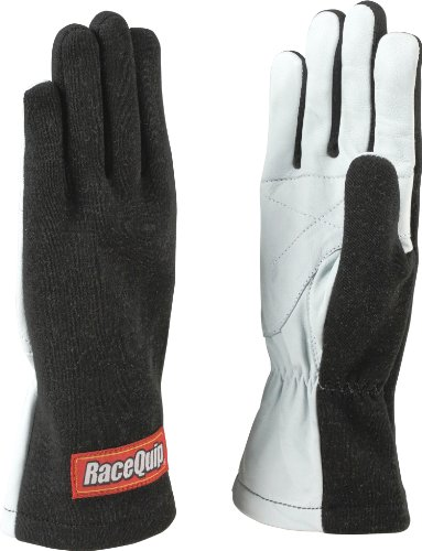 (RaceQuip 350005 350 Series Large Black Single Layer Driving Gloves)