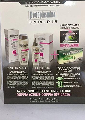 Protoplasmina Control Plus - Kit de champú de 300 ml, tratamiento anticaída + control bioestimulador + suplemento de tricosammina: Amazon.es: Belleza