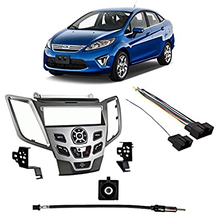 Fits Ford Fiesta 2011 w/o Sync SDIN Harness Radio Install Kit - Silver Dash