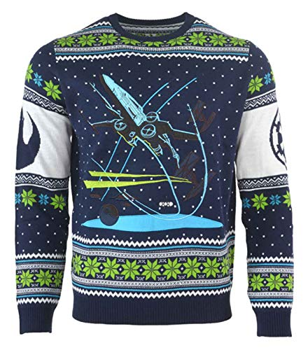 Star Wars Christmas Jumper Battle of Yavin X Wing Fighter Official Mens Size M Blue