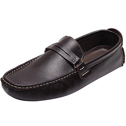 Comodidad Ponerse Mocasines Coche Conducción rismart Zapatos Marrón Hombre tIwqWRO
