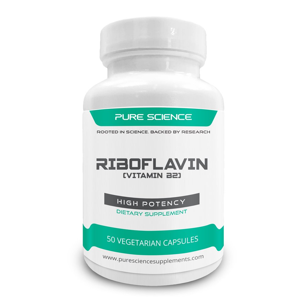 Pure Science Vitamin B2 Riboflavin 400 mg with 5mg BioPerine® - with Nutrient Absorption Enhancer - High Potency Vitamin B2 - 50 Vegetarian Capsules