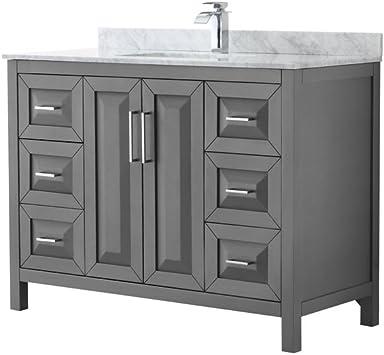 Wyndham Collection Daria 48 Inch Single Bathroom Vanity In Dark Gray White Carrara Marble Countertop Undermount Square Sink And No Mirror Amazon Com
