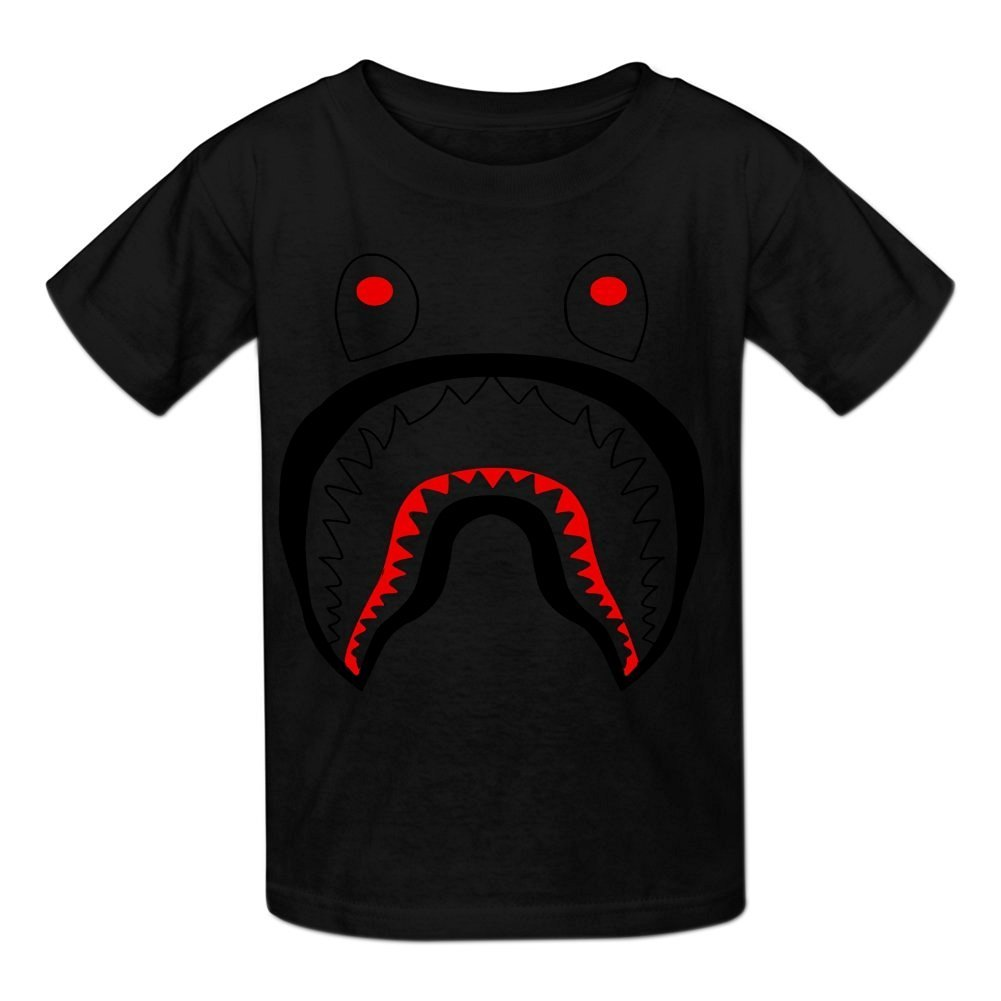 44af464a37e1 Amazon.com  Kidsloveit Kids Bape Shark Short Sleeve T Shirts for Boys M  Black  Clothing