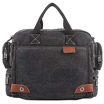 Rullar Mens Womens Multifunction Retro Canvas Messenger Bag Shoulder School Travel Crossbody Hiking Bag Tote Satchel Briefcase Purse