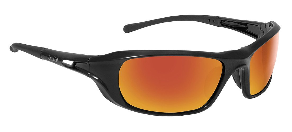 Bolle Safety Shadow Safety Glasses, Shiny Black Frame, Grey with Red Flash Mirror Lenses
