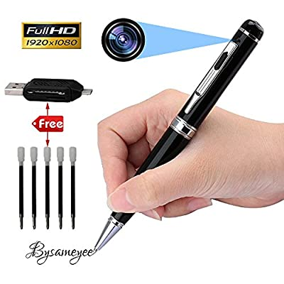 Bysameyee Spy Camera Pen HD 1080P Mini DVR, Portable Video Recorder Hidden Camcorder with 5 Ink Refills, Card Reader – Black and Silver by Bysameyee