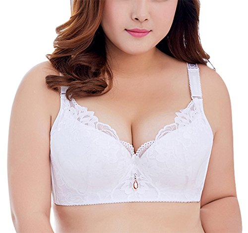 Floral Trim Bra Lace (Women Push Up Bra Plus Size Lightly Lined Add Cups Floral Lace Trim Bra Ultra Thin Breathable Brassiere White42D)