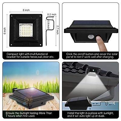 Solar Motion Sensor Lights Outdoor, 25 LEDs Solar Gutter Lights, 2W, PIR-Sensor, No Dim Model, Wireless Security Night Lights for Garden, Black, Cool White Light(4er-Set)