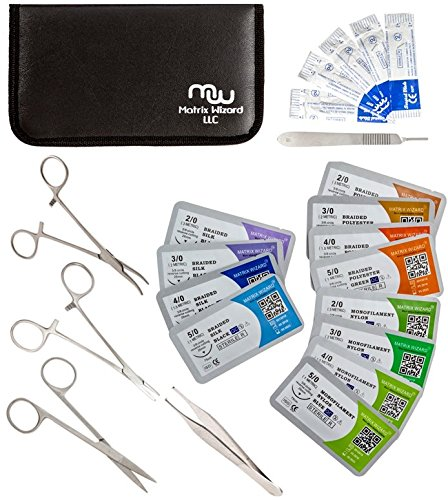 Suture Threads with Needle + Tools for Medical Student's Surgical Practice Suture Kit; Outdoor Camping Emergency Survival Demo; Hospital First Aid Training (Mixed 23Pk 2-0, 3-0, 4-0, 5-0) -
