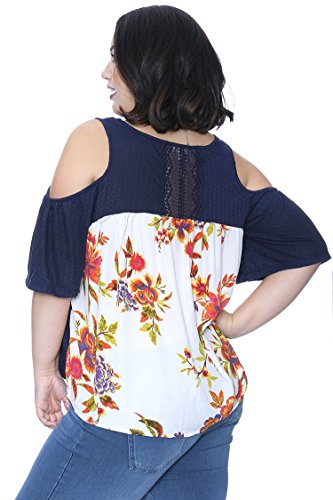 Plus Size Cold Shoulder Printed Back Top Navy 1X