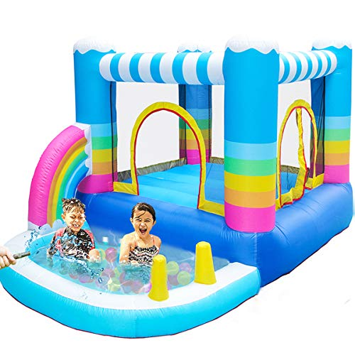 - MEIOUKA Outdoor Indoor Inflatable Bounce Houses Jumper with Small Ball Water Pool 350W Blower Colorful Rainbow Inflatable Kid Bouncy House for Outdoor Indoor Kid Jumping Bouncer Party Yard Toys