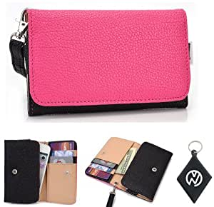 Black Hot Pink Wallet Phone Cover Wristlet Clutch Case Fits Samsung Galaxy Music S6010 + NuVur 153; Keychain |ESAMMTKM|