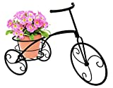 Sorbus Tricycle Plant Stand - Flower Pot Cart Holder - Ideal for Home, Garden, Patio - Great Gift for Plant Lovers, Housewarming, Mother's Day - Parisian Style (Single Pot, Black)