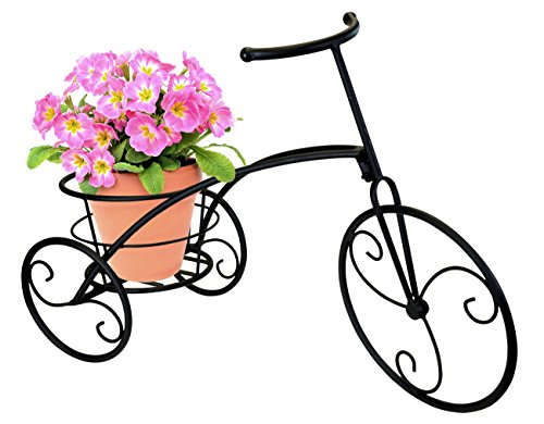 (Sorbus Tricycle Plant Stand - Flower Pot Cart Holder - Ideal for Home, Garden, Patio - Great Gift for Plant Lovers, Housewarming, Mother's Day - Parisian Style (Single Pot,)