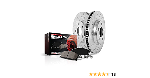 Power Stop K1073 Front Ceramic Brake Pad and Cross Drilled//Slotted Combo Rotor One-Click Brake Kit