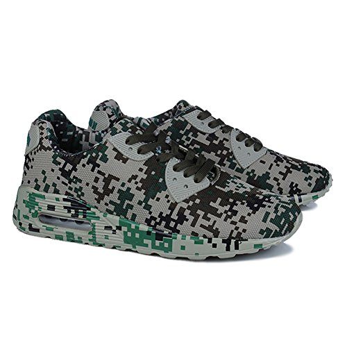 Fereshte Paar Unisex Dames Herenmode Casual Ademend Running Athlectic Sportschoenen Camouflage Sneakers Legergroen