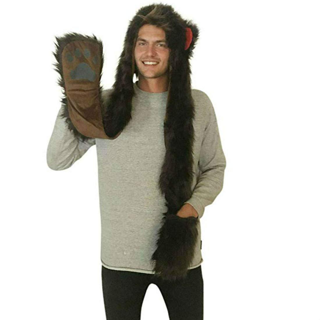 c7bbdd4c Amazon.com: Bear Full Animal Hoodie Faux FUR Brown Hat 3-in-1 Function For  Men: Clothing