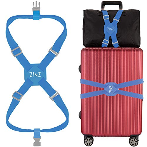 Luggage Strap, ZINZ High Elastic Suitcase Adjustable Belt Bag Bungees With Buckles And More Applications (Blue-001)