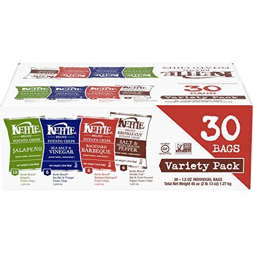 Image of Kettle Brand Potato Chips Variety Pack, Sea Salt & Vinegar, Krinkle