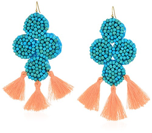 Panacea Women's Turquoise Stone with Coral Tassel Drop Earrings