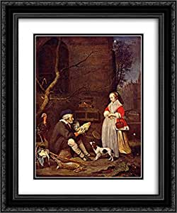 Gabriel Metsu 2x Matted 20x24 Black Ornate Framed Art Print 'The Poultry Seller'