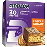 Detour Lower Sugar Whey Protein Bar, Peanut Butter Cream, 3 Ounce 12 count