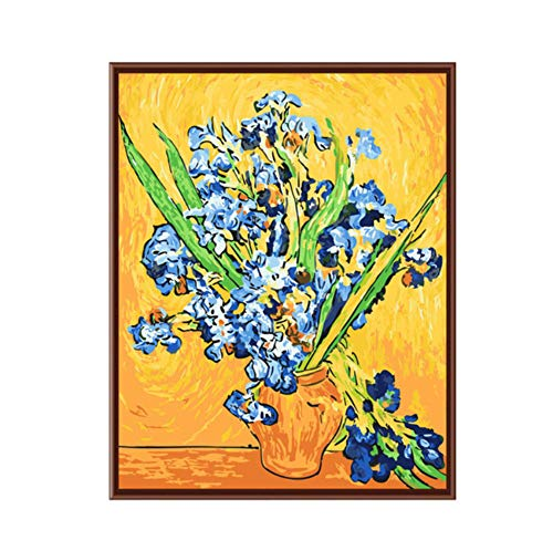 HYDWX Frameless Painting by Numbers DIY Digital Oil Painting Canvas Painting Home Decoration Van Gogh - Irises 40x50CM - Irises Framed Canvas