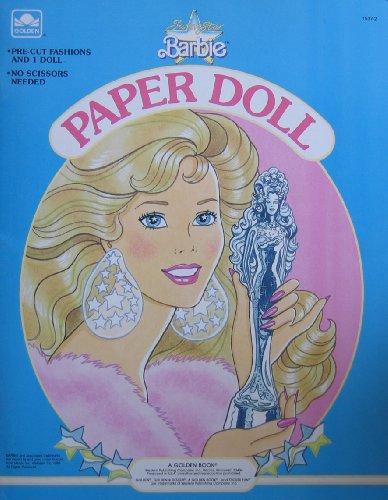 Super Star Barbie Paper Doll Book w 1 Doll & Pre-Cut Fashions (1989 Golden) from Super Star Barbie Paper Doll