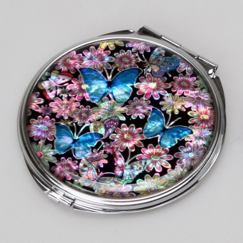 Mother-of-Pearl-Blue-Butterfly-Design-Double-Compact-Makeup-Cosmetic-Personal-Handbag-Purse-Mirror-32-Ounce-by-Antique-Alive