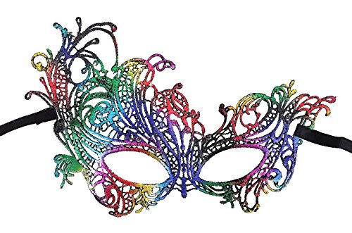 Women's Mythical Goddess Lace Phoenix Masquerade Mask, Rainbow_Phoenix