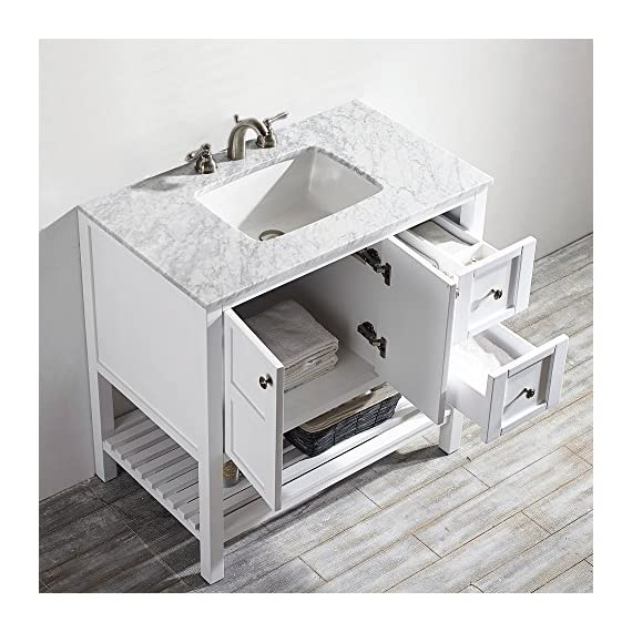 "Vinnova 713036-WH-CA-NM Florence 36"" Vanity in White with Carrera Marble Countertop Without Mirror, Inch - Solid Oak Wood with Laminated Veneer Panels Lends eclectic flair to any bathroom decor Ample space for toiletries - bathroom-vanities, bathroom-fixtures-hardware, bathroom - 51A7DUjEo5L. SS570  -"