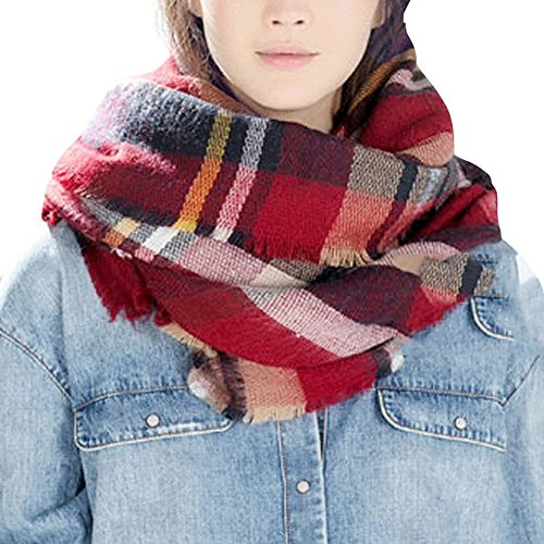 (Bess Bridal Women's Plaid Blanket Winter Scarf Warm Cozy Tartan Wrap Oversized Shawl Cape (One Size, Red))