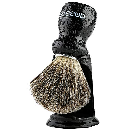 Shaving Brush Holder Set, Anbbas Pure Badger Hair Shave Brush Black Wood Handle,Contracted Design Resin Shaving Stand,2pcs Traditional Shaving Kit for Men