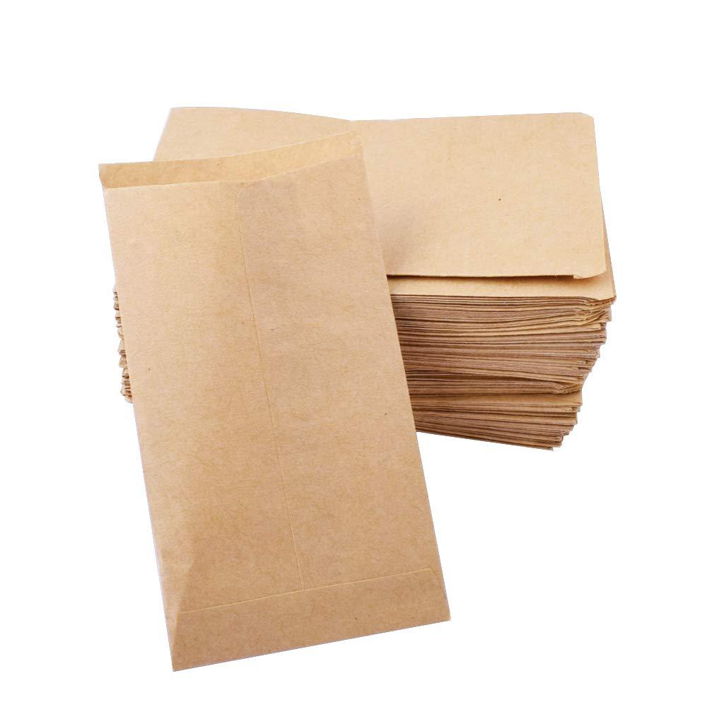 Gudotra 100pcs Pochette Sac Sachet Enveloppe en Kraft Papier Naturel pour Semences Bijoux Pétales de Fleur Mariage 10 * 6CM
