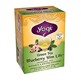 Yogi Teas Green Tea 43 FLAVOR: Yogi Green Tea Blueberry Slim Life tea combines bold Green Tea with bright Hibiscus and sweet Blueberry flavor for a refreshing and lightly sweet Green Tea blend. BENEFITS: Garcinia Cambogia Fruit and Ginseng and Eleuthero Extracts support stamina in this energizing Green Tea blend that's a delicious addition to a weight loss program when accompanied with exercise and a balanced diet. ORGANIC: Made with Organic Hibiscus Flower and Non-GMO Project Verified.