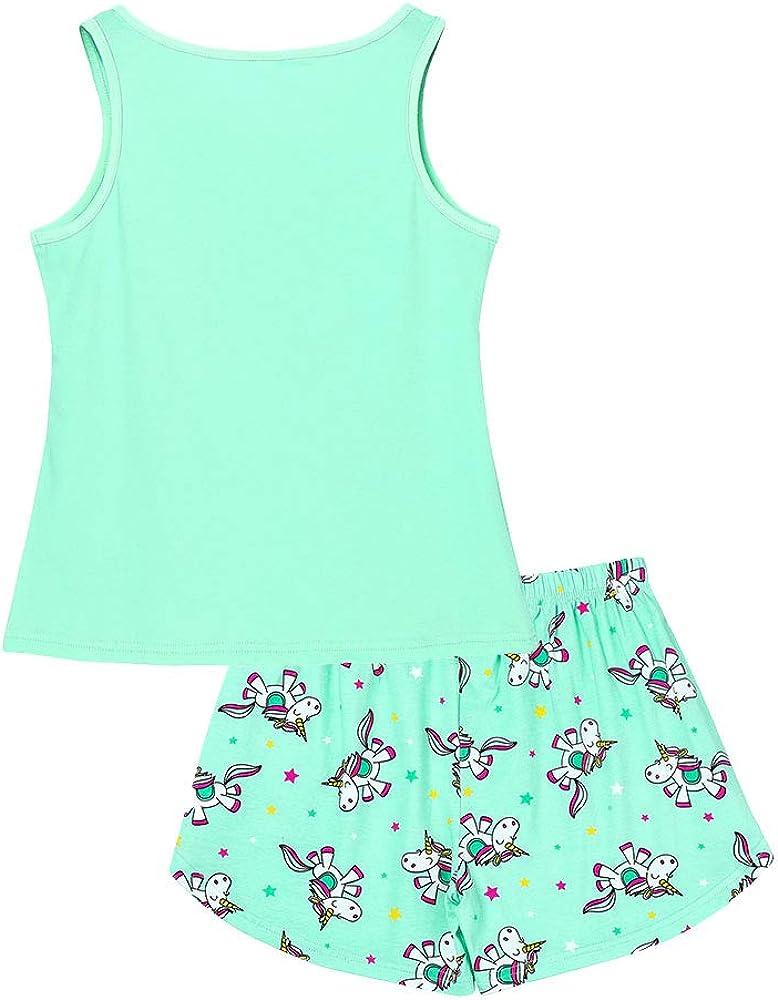 Size 6 8 10 12 14 16 Tank Top /& Shorts Set Cotton Kids Clothes for Tween Big Girls Unicorn//Panda Pajama