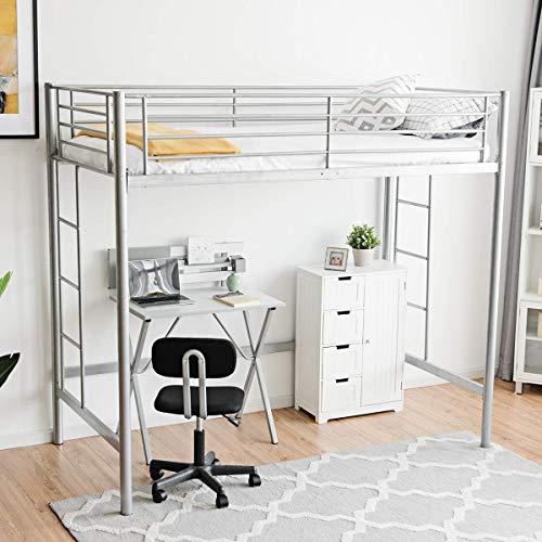 - Costzon Twin Metal Loft Bed, Metal Bunk Bed W/Ladders for Boys Girls Teens Kids Bedroom Dorm, Silver