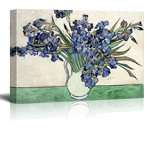 Vase of Irises by Vincent Van Gogh Print Famous Oil Painting Reproduction