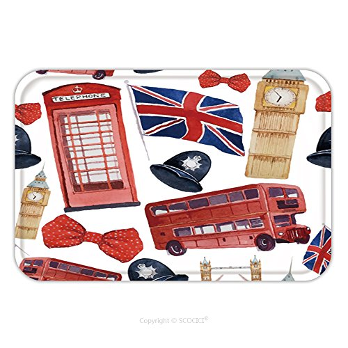 [Flannel Microfiber Non-slip Rubber Backing Soft Absorbent Doormat Mat Rug Carpet Watercolor London Pattern Seamless Texture With Hand Drawn Elements Red Phone Booth Big Ben 270595877 for Indoor/Outdoo] (Red Phone Booth Costume)