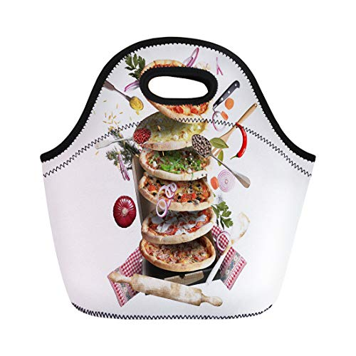 Semtomn Lunch Bags Cafà Bacon Pizza Different Tastes Vegetables Cooking Baked Cheese Neoprene Lunch Bag Lunchbox Tote Bag Portable Picnic Bag Cooler Bag