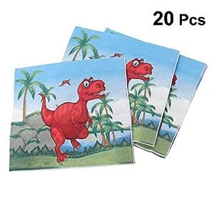 BESTONZON 20 piezas de papel Toallas Dinosaurio con dibujos Servilletas desechables Suministros para fiesta de cumpleaños