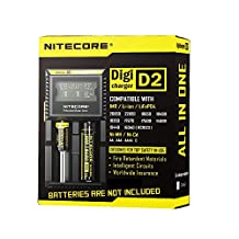 Nitecore D2 Intelligent Digi Charger - US PLUG BLACK LH0027203 with LCD Monitor for 26650 18650 16340 RCR123 14500 10400 AAAA AAA AA C Batteries
