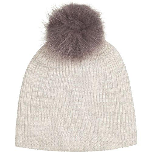 White + Warren Fur Pom Pom Spacedye Rib Beanie - Women's White Spacedye, One Size by White + Warren