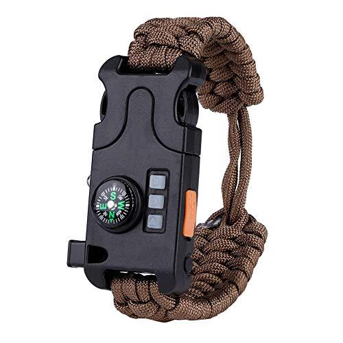 d6e6299cec サバイバルブレスレット 多機能ブレスレット SOS LEDライト コンパス ホイッスル 救命縄 ミニミラー ウトドア 登山