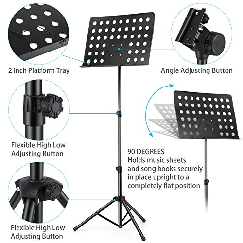3-Pack MMS-2 Metal Adjustable Sheet Music Stand Portable With Music Stand Light Carrying Bag Black by Moukey (Image #2)