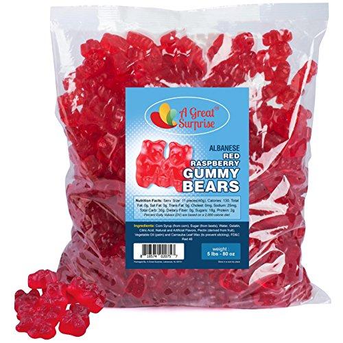 Gummy Bears Bulk - Red Gummi Bears - Red Raspberry Gummy Bears - Bulk Candy Gummies 5 LB