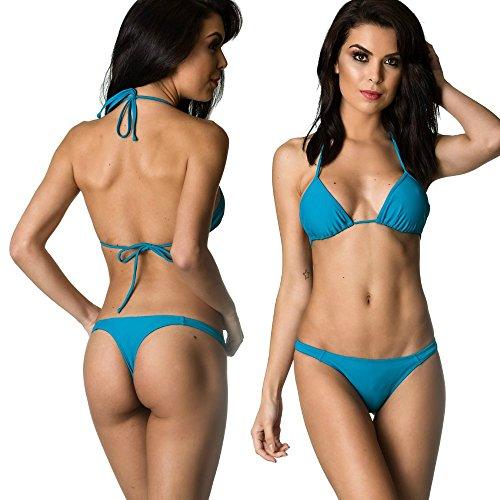 Swimwear Brazilian Bottom (THE MESH KING COQUETA Swimwear Women Sexy Bottom Teeny Brazilian Bikini Thong Swimsuit Set-Teal)