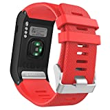MoKo Garmin Vivoactive HR Watch Band, Soft Silicone Replacement Watch Band ONLY for Garmin Vivoactive HR Sports GPS Smart Watch with Adapter Tools – RED